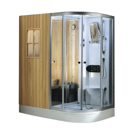 Sauna si cabina de dus WS-180100 stanga, 1800 x 1000 x 2200 mm, capacitate: 1-2 persoane, putere incalzire sauna 3000 W, pin finlandez