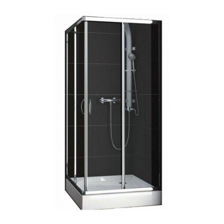 Cabina de dus cu usi glisante Aquaform Nigra , dimensiune 80x80 cm, grosime sticla 4 mm, inchidere magnetica