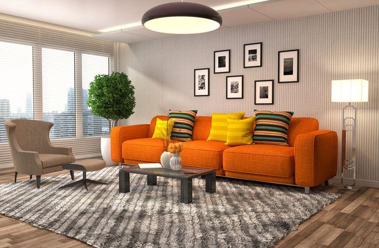 Cele mai noi modele de canapele portocalii, pentru living - fixe, extensibile sau coltar?