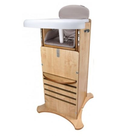 Scaun de masa din lemn si turn de activitati FunPod sistem 5 in 1 Caramel