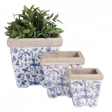 Set ghivece albastre cu motiv floral din ceramica-3 piese