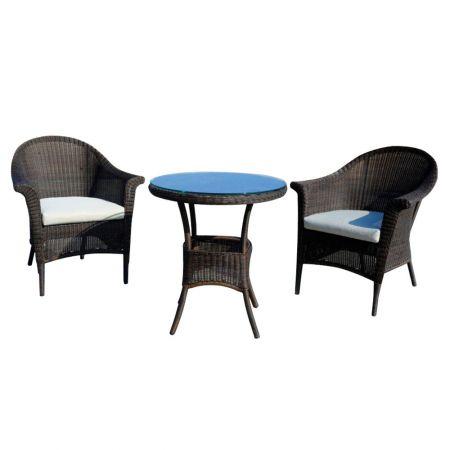 Set 2 scaune si masa rotunda D.70cm NEWPORT, maro/alb, gradina sau balcon