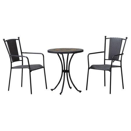 Set 2 scaune si masuta BALCONY cm, negru/multicolor, balcon sau gradina