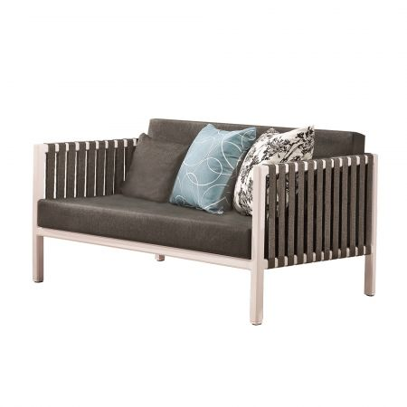 Canapea de exterior Garnet, alba cu perne gri, pentru gradina si terasa
