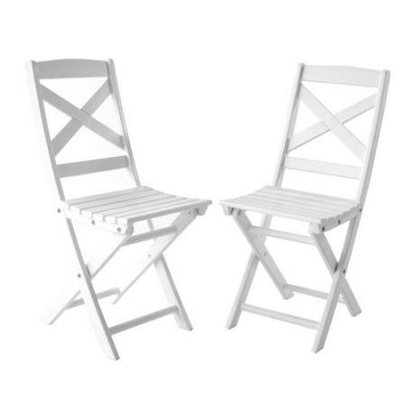 Set 2 Scaune albe pentru balcon sau gradina, Lota Din Lemn Masiv