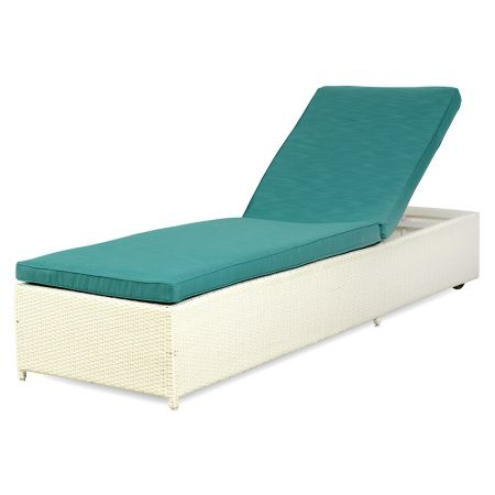 Sezlong cu pompa SUNSET, 209x66x36 cm , alb/turquoise, pentru gradina sau curte cu piscina