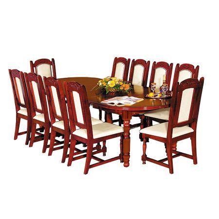 Masa Imperial cu 10 scaune, mahon, lemn masiv